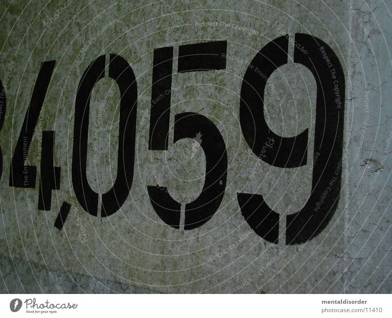 4,059 Digits and numbers Concrete Comma Empty Typography Characters Wall (barrier) Photographic technology printed Colour Structures and shapes