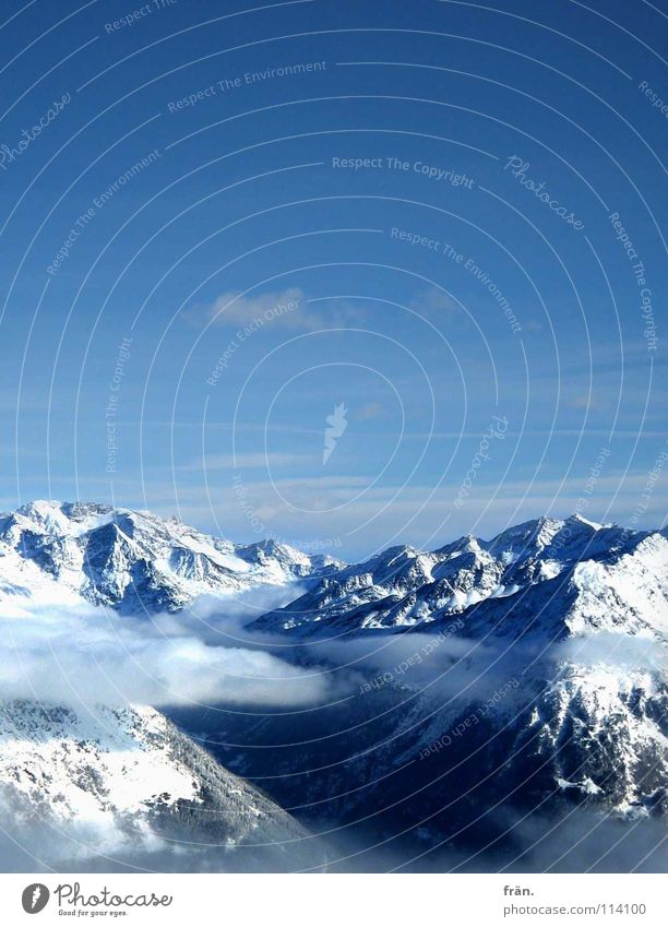 Sky Blue White Clouds Winter Mountain Snow Flying Dream Point Peak Alps Hover Glacier Valley Slope