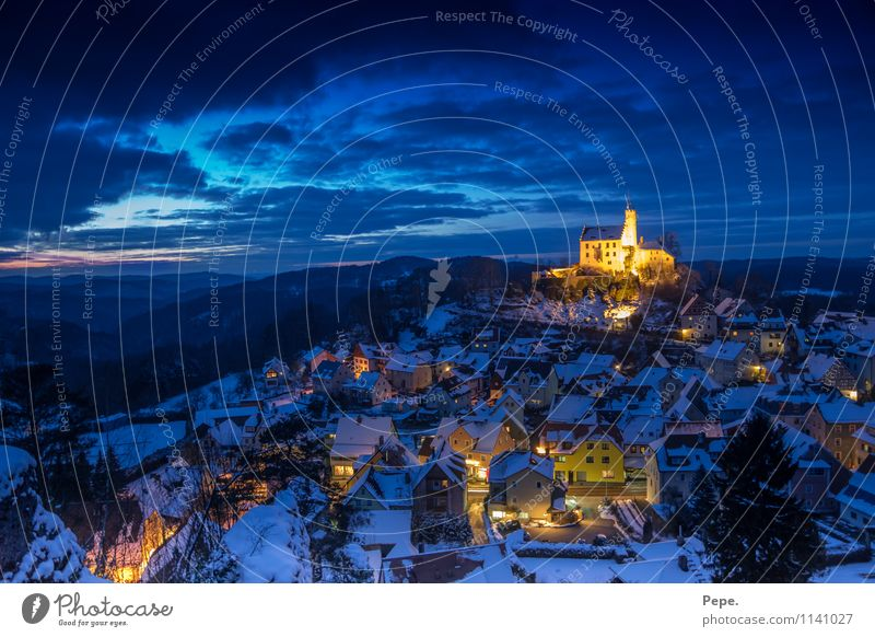 Gößweinstein at night Castle Manmade structures Roof Tourist Attraction Blue Yellow Belief Religion and faith Horizon Culture Vacation & Travel Far-off places