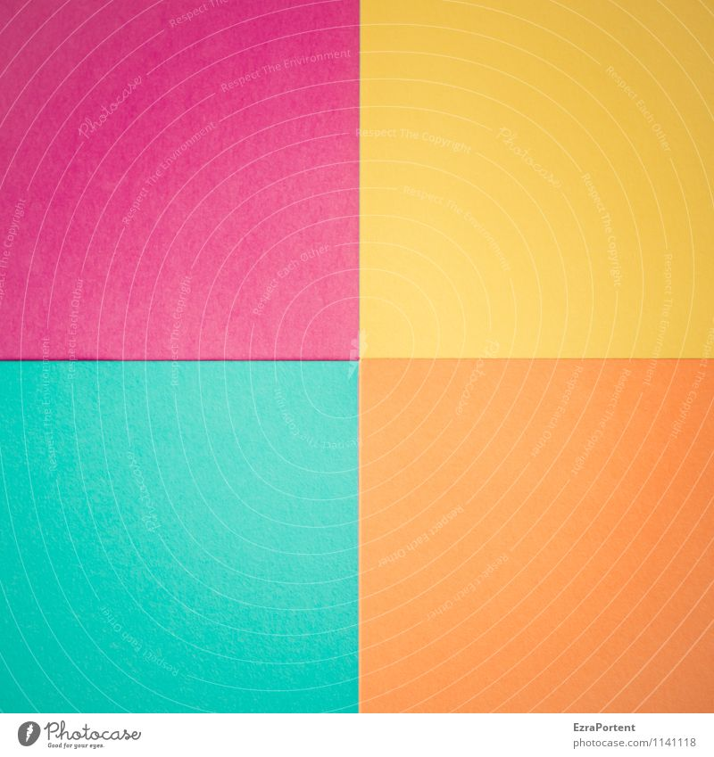 Blue Colour Yellow Line Bright Orange Design Esthetic Paper Illustration Many Violet Turquoise Graphic Square Handicraft