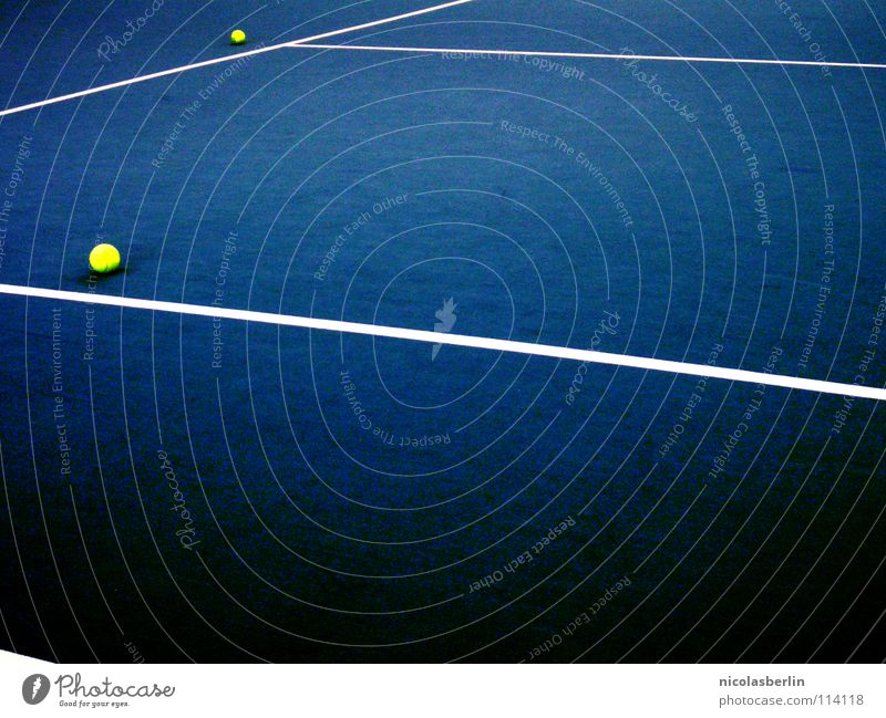 Dots & Lines Leisure and hobbies Playing Sports Ball Deserted Places Stripe Esthetic Blue Yellow White Design Tennis 2 Single Action Wimbledon Double exposure