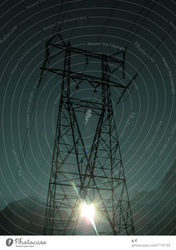 Two forms of energy Electricity Solar Power Sunbeam Electricity pylon Essential Large Telecommunications Energy industry Lighting Cable Blue Mountain Snow