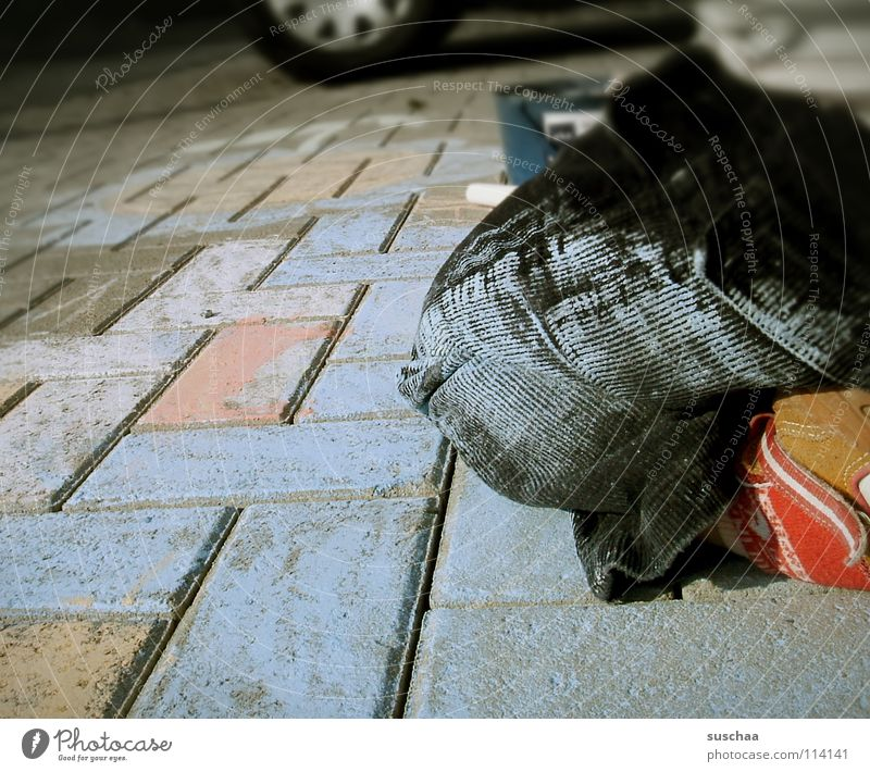 Blue Street Colour Footwear Legs Dirty Painting (action, work) Pants Brick Sidewalk Traffic infrastructure Toddler Chalk Kneel