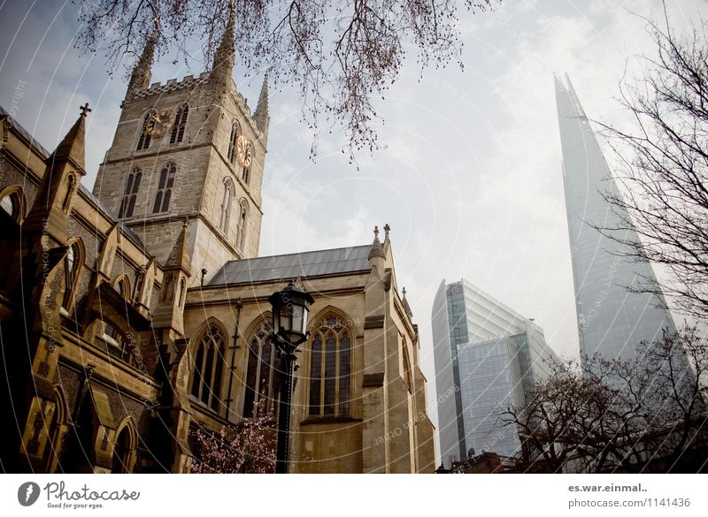 London I Town Capital city Church Old Esthetic New Architecture Colour photo Exterior shot Worm's-eye view