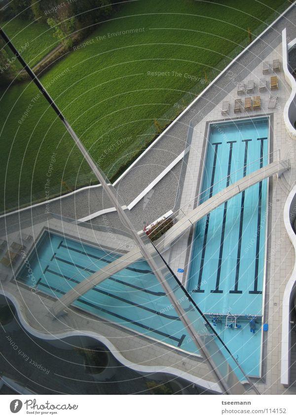 pool origami Swimming pool Footbridge Reflection Wall (building) Grass Green Relaxation Wellness Architecture Aquatics Water Railroad Blue Bridge Glass Sports