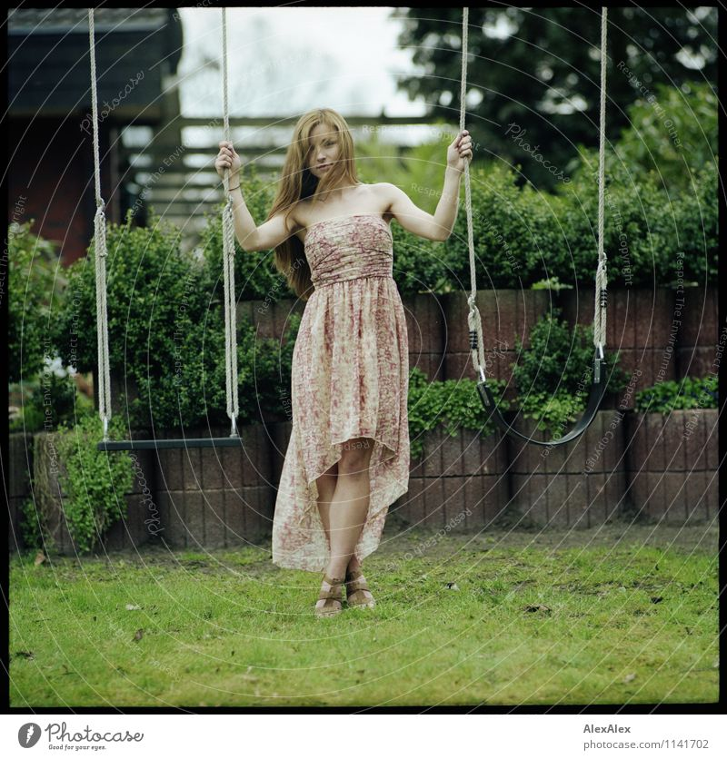 pZ2 | Vici in the garden Playing Garden Young woman Youth (Young adults) Body Legs 18 - 30 years Adults Beautiful weather Tree Bushes Dress Brunette Long-haired