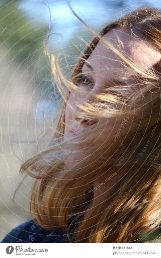 Human being Woman Nature Water Sun Adults Environment Emotions Movement Feminine Healthy Freedom Head Moody Blonde Wind