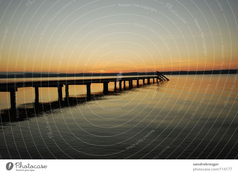 Starnberg Lake like paradise 2 Sunset Horizon Lake Starnberg Infinity Calm footbridge Water Dusk
