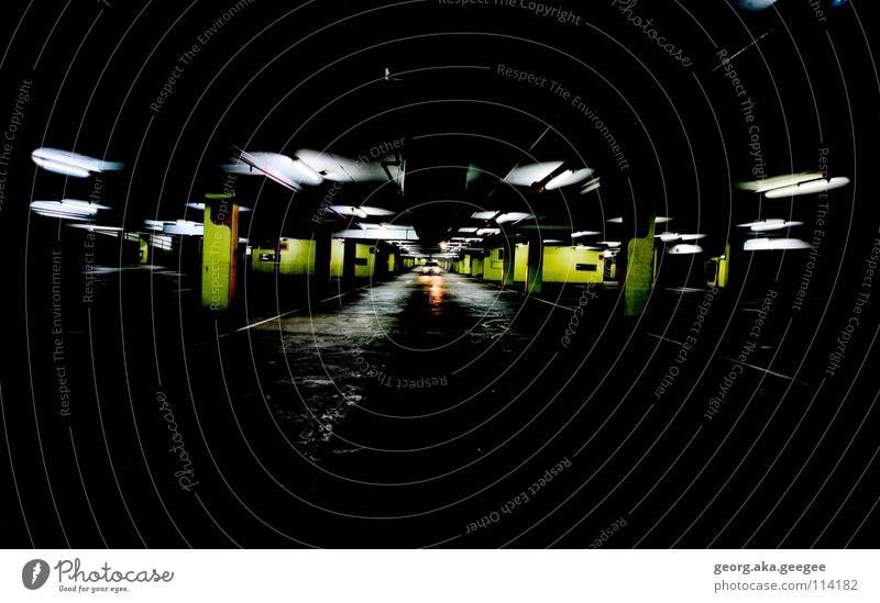 underground car park Light Wide angle Dark Underground garage Night Calm Tunnel Contrast Colour