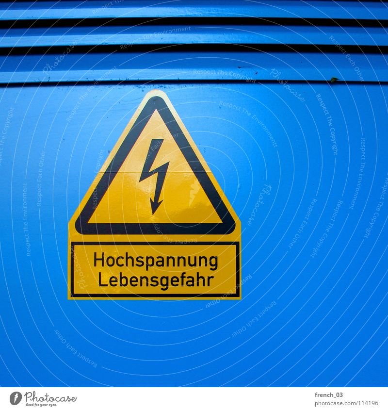 tension Blue Black Yellow Death Life Line Power Energy industry Signs and labeling Dangerous Illuminate Electricity Cable Threat Point Technology