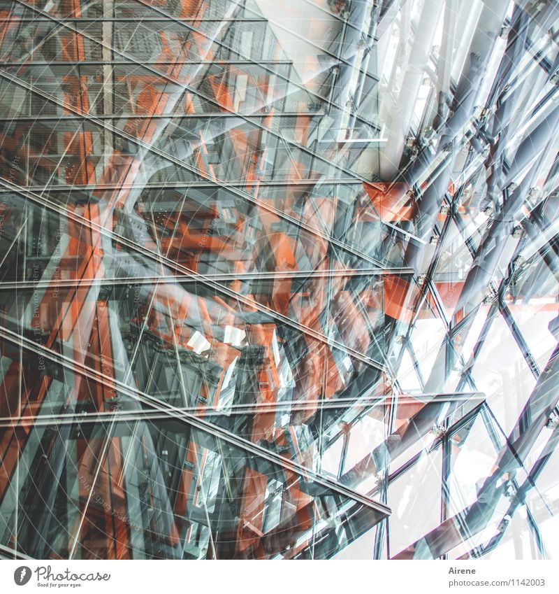 turbulent Architecture Elevator Airport Departure lounge Glas facade Metal construction Glass Flying Wild Gray Orange Double exposure Colour photo Interior shot
