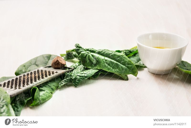 Spinach, oil and grater with nutmeg Food Vegetable Lettuce Salad Herbs and spices Cooking oil Nutrition Lunch Dinner Organic produce Vegetarian diet Diet Bowl