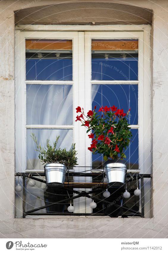 French Windows II Art Esthetic Shutter Window pane Window board View from a window Window transom and mullion Window frame Glazed facade Windowsill Flowerpot