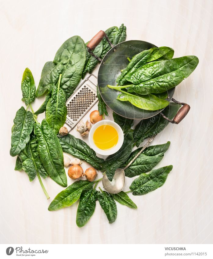 Prepare fresh spinach leaves Food Vegetable Lettuce Salad Herbs and spices Cooking oil Nutrition Lunch Dinner Organic produce Vegetarian diet Diet Crockery Bowl