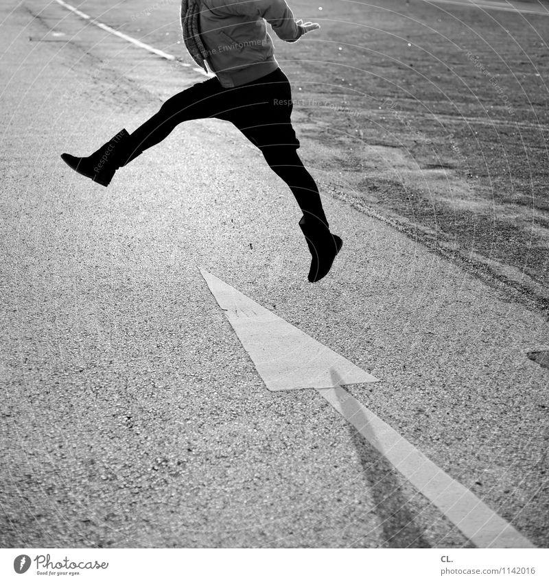 Human being Woman Joy Adults Life Street Movement Feminine Lanes & trails Healthy Happy Legs Jump Transport Happiness Joie de vivre (Vitality)