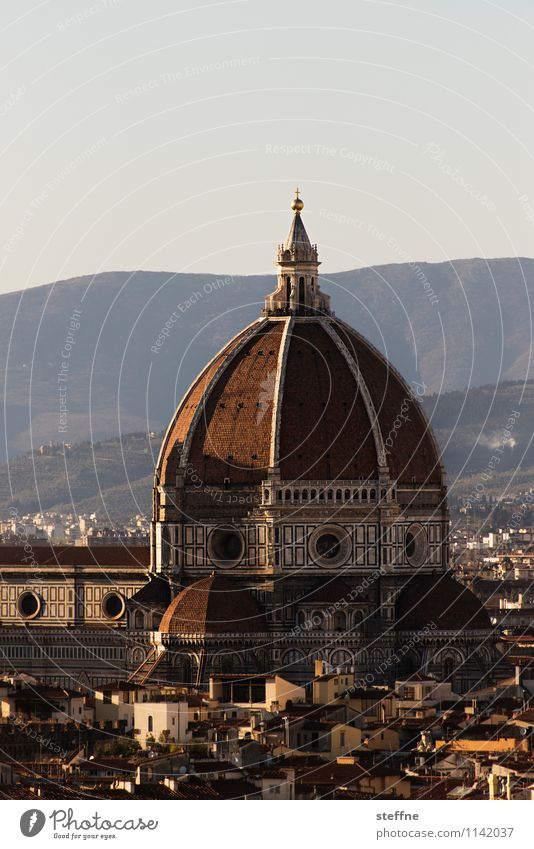 Church: Florence Sunrise Sunset Beautiful weather Hill Tuscany Italy Skyline Dome Tourist Attraction Landmark Religion and faith Architecture Domed roof