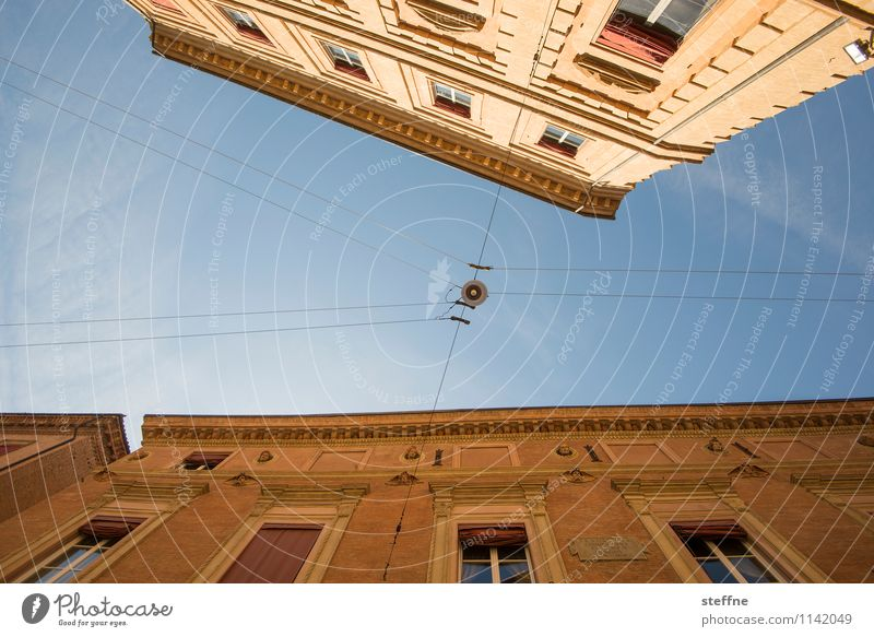 Bologna | Street Lighting Town Italy Emilia Romagna Upward Worm's-eye view Old town House (Residential Structure) Sky Lamp Cable Historic Beautiful weather