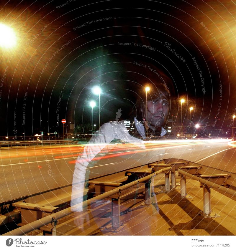 the traffic and the ghost. Transport Highway Night Junction Man Long exposure Town Street lighting Lantern Self portrait Transparent steet road Movement Escape