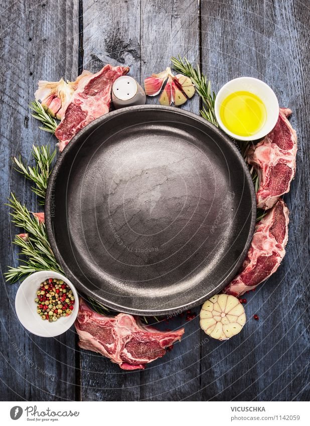 Empty plates with lamb chop preparation Food Fish Herbs and spices Cooking oil Nutrition Lunch Dinner Organic produce Diet Plate Bowl Style Design