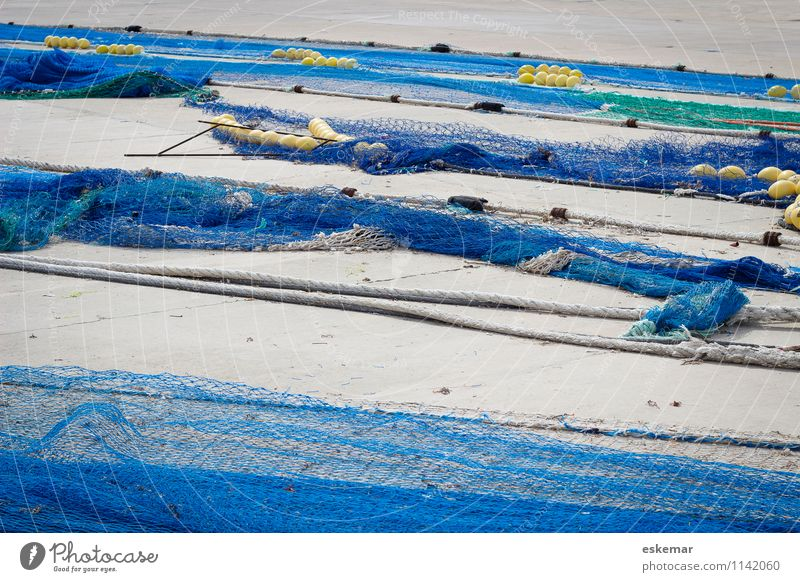 fishing nets Harbour Fishing net Net Blue Effort Esthetic Contentment Network Fishery Spain Interlaced enmeshed entangled Colour photo Exterior shot Deserted