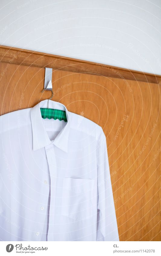 the good shirt Living or residing Flat (apartment) Room Door Fashion Clothing Shirt Hanger Checkmark White Orderliness Purity Colour photo Interior shot