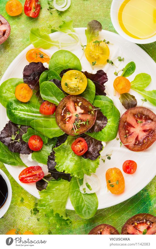 Colourful summer salad with tomatoes Food Vegetable Lettuce Salad Herbs and spices Cooking oil Nutrition Lunch Organic produce Vegetarian diet Diet Plate Style