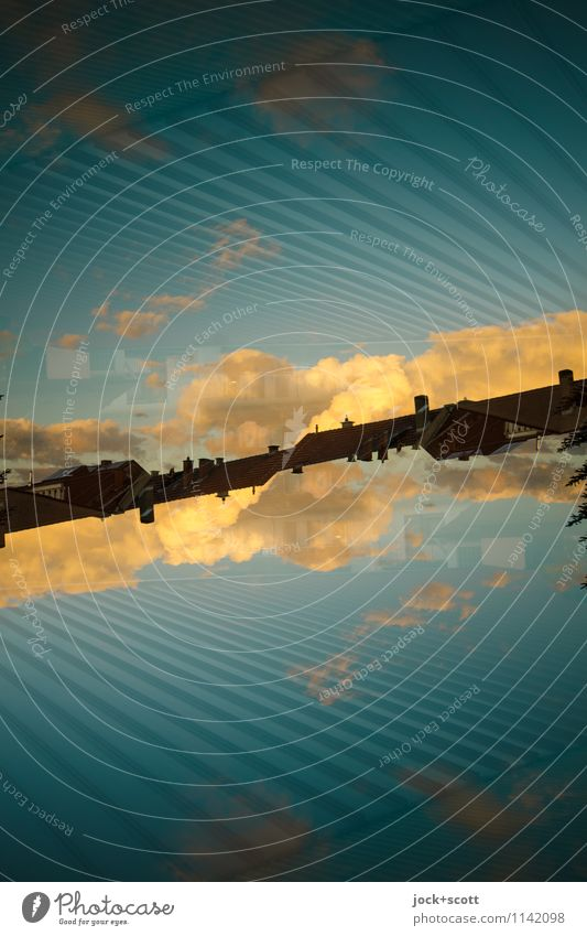 sloping evening Clouds Beautiful weather Line Fantastic Long Modern Warmth Blue Horizon Inspiration Complex Surrealism Irritation Double exposure Reaction
