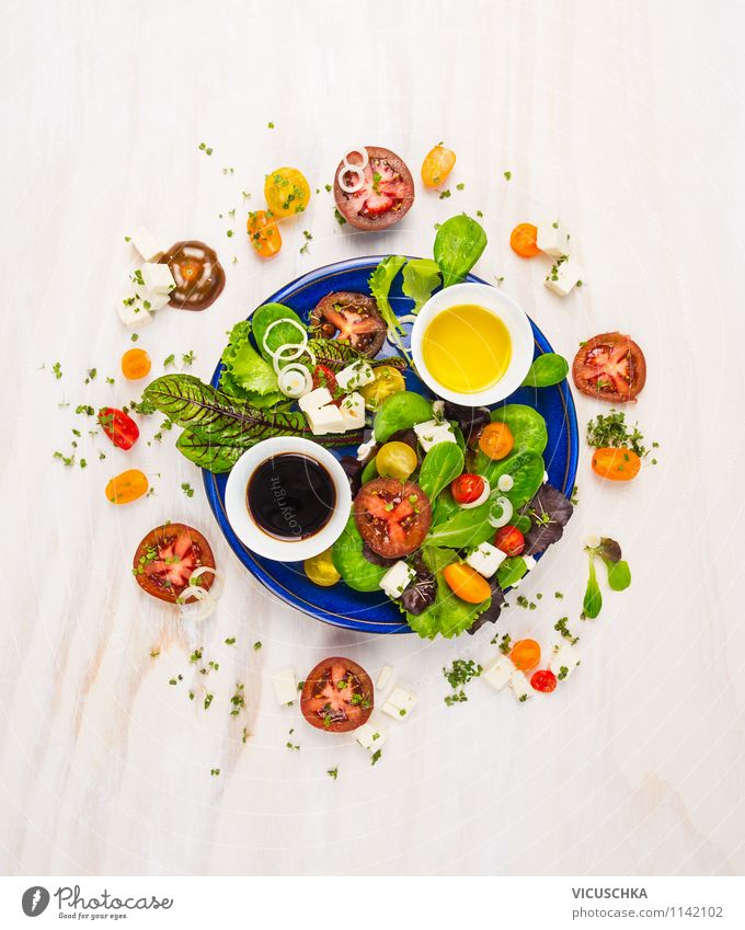 Tomato salad with different dressing Food Cheese Lettuce Salad Herbs and spices Cooking oil Nutrition Lunch Banquet Organic produce Vegetarian diet Diet Plate