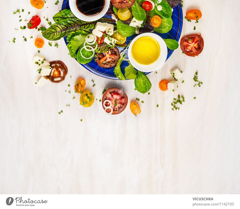 Colourful summer salad Food Dairy Products Vegetable Lettuce Salad Herbs and spices Cooking oil Nutrition Lunch Organic produce Vegetarian diet Diet