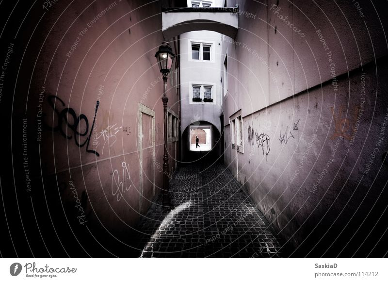 Man City House (Residential Structure) Loneliness Lamp Window Graffiti Switzerland Historic Narrow Alley Old town Street art Mural painting