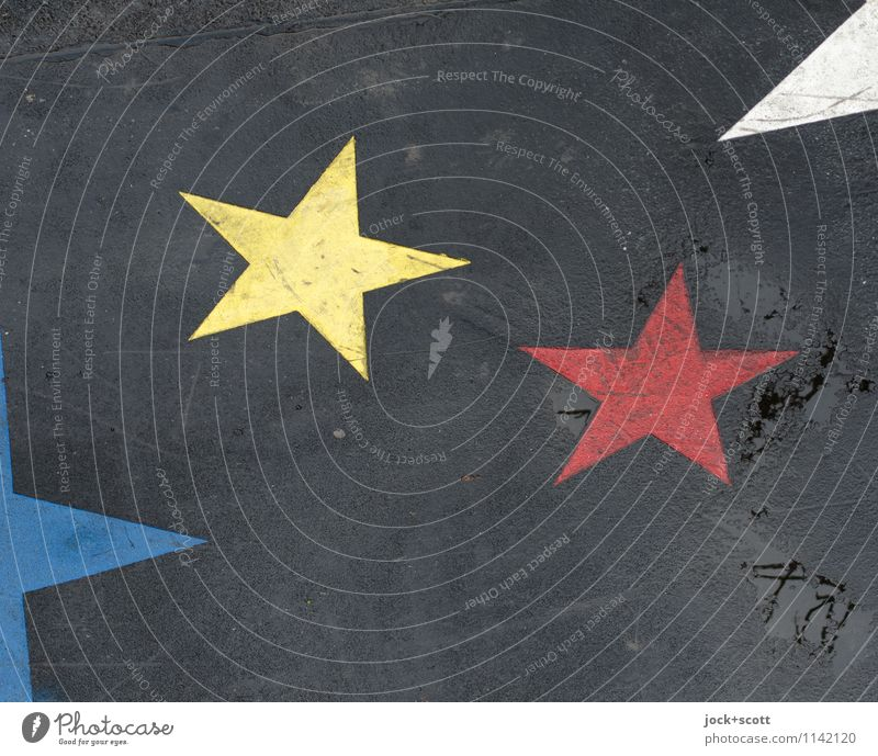 2 stars are not enough Street art Decoration Star (Symbol) Dirty Sharp-edged Simple Firm Together Yellow Red Happiness Colour Friendship Uniqueness Inspiration