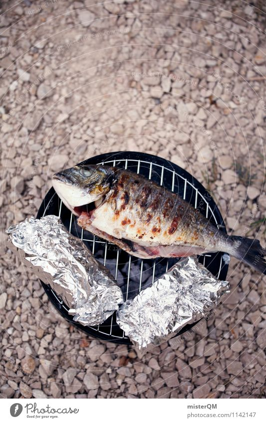 Grilled fish I Animal Adventure Fish Barbecue (event) Barbecue (apparatus) Charcoal (cooking) BBQ season Barbecue area Vacation photo Delicious Healthy Eating