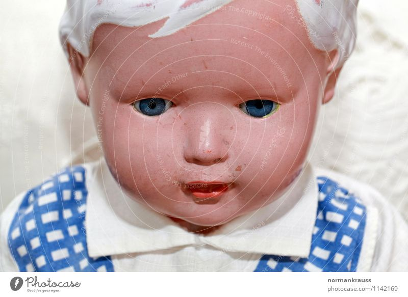 doll Toys Doll Plastic Retro doll's head doll's face old doll doll portrait Facial expression Head Colour photo Interior shot Copy Space bottom Day Flash photo