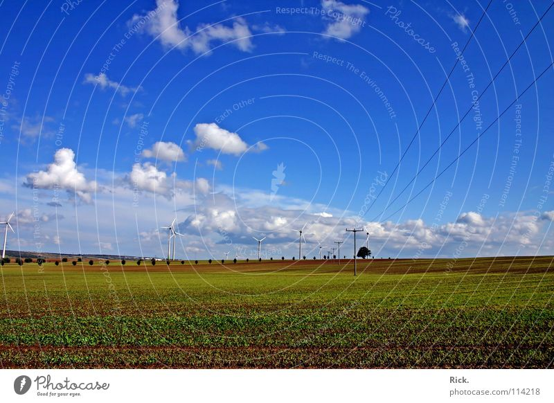 Sky Nature Blue White Green Clouds Colour Meadow Autumn Landscape Field Power Energy industry Perspective Electricity Cable