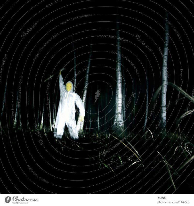 who's king now? Yellow Gray Gray-yellow Forest Suit Protective clothing Crazy Night Long exposure Birch tree Axe Superior Creepy Flashy Dark Dangerous Monster