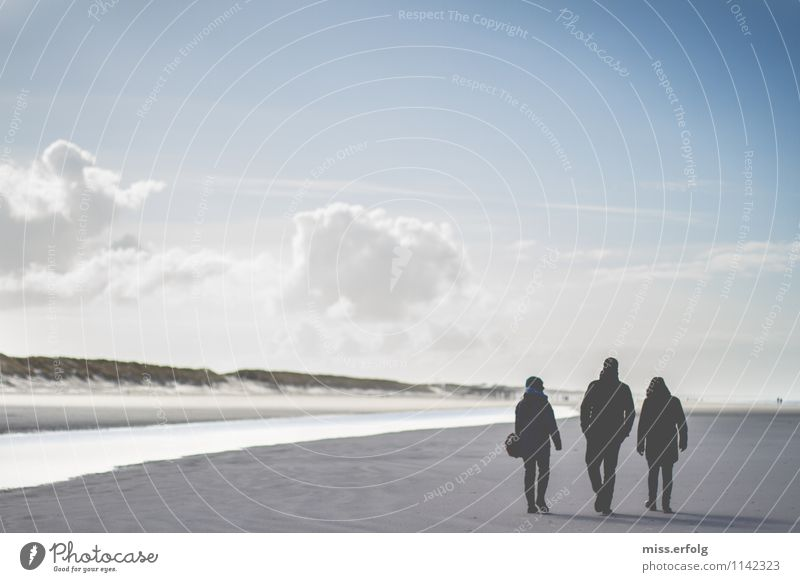 The three from the dike. 3 Human being 13 - 18 years Youth (Young adults) 18 - 30 years Adults Hiking Dark Bright stand Dune North Sea clean air Air