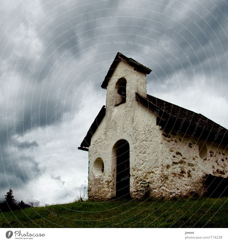 Sky Clouds House (Residential Structure) Meadow Grass Stone Rain Religion and faith Small Hill Narrow Go up Bad weather Dramatic Bell Catholicism