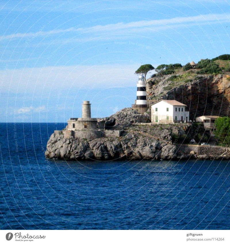 Sky Ocean Blue Summer Beach Vacation & Travel House (Residential Structure) Mountain Coast Rock Derelict Spain Navigation Lighthouse Majorca Balearic Islands