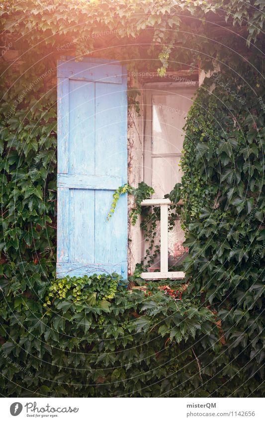 Blue Window Art Facade Esthetic France Window pane View from a window Shutter Overgrown Old fashioned Window board Window transom and mullion Window frame Glazed facade Provence