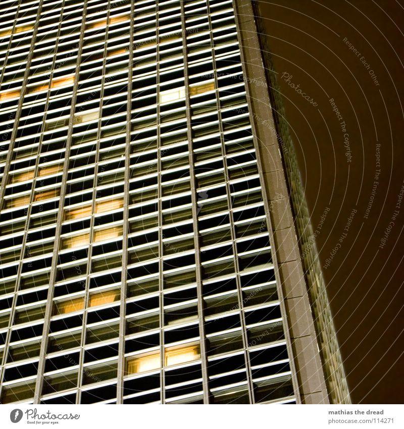 light on, light off III House (Residential Structure) High-rise Large Hotel Downtown Berlin Alexanderplatz Facade Light Artificial light Window Dark Yellow