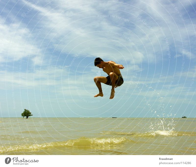 out the water in the air Brazil Beach Ocean Palm tree Vacation & Travel Joie de vivre (Vitality) Salto Frozen Watercraft Easygoing Air Exuberance Acrobatic