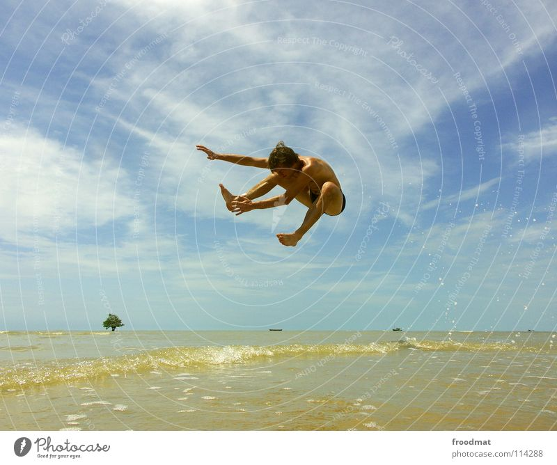 Sky Youth (Young adults) Water Vacation & Travel Tree Summer Ocean Beach Joy Clouds Warmth Freedom Happy Sand Air Watercraft