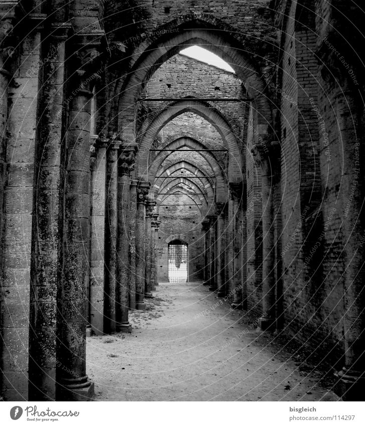 San Galgano (Italy) Black & white photo Interior shot Deserted Day Central perspective Calm Europe Church Ruin Wall (barrier) Wall (building) Door