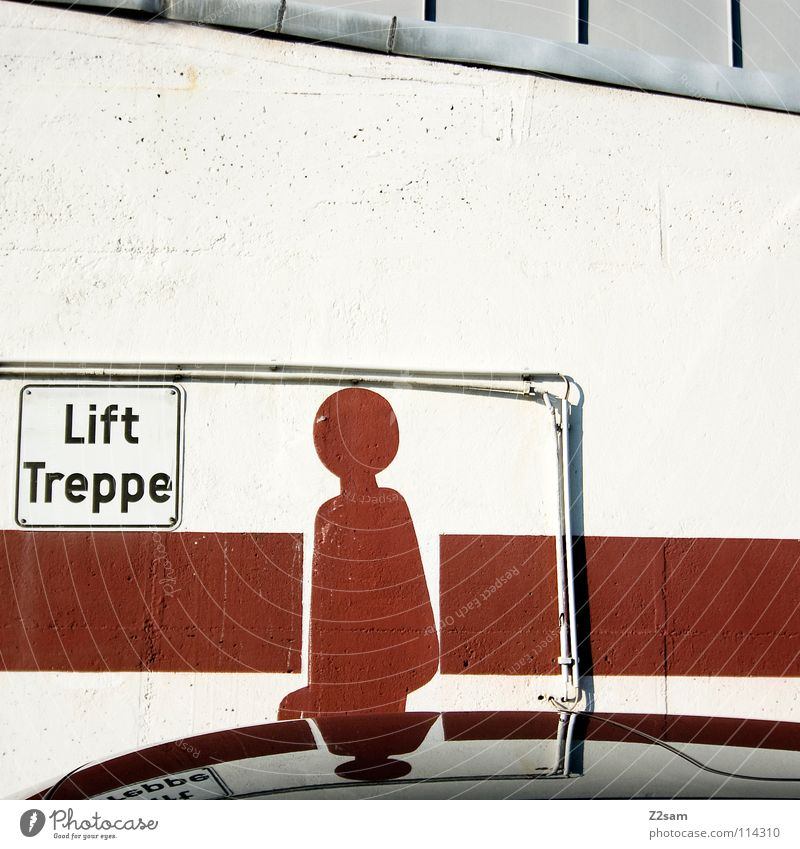 LIFT TREPPE?! Going Icon Stick figure Reflection Car roof Black Red Warning colour Geometry Square Painting and drawing (object) Signs and labeling Handbook