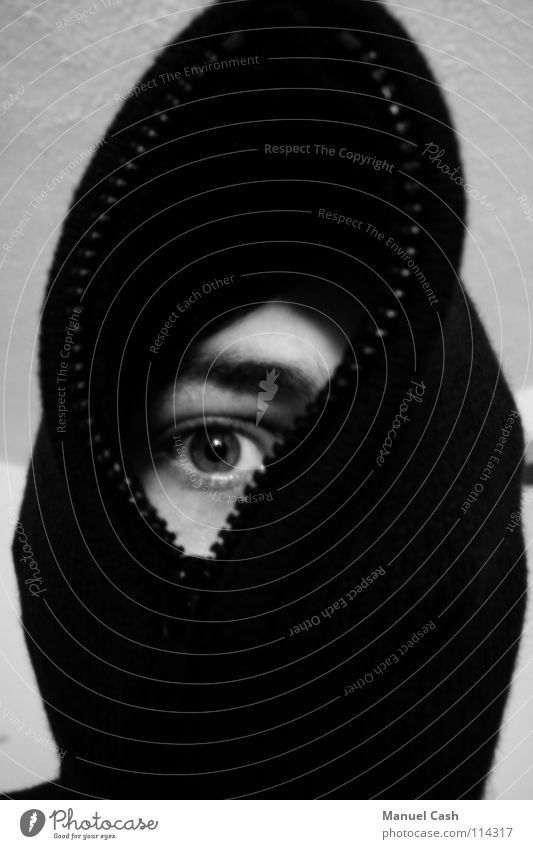 An eye for an eye White Zipper Gray Right Black & white photo Eyes Hooded (clothing) black Shadow