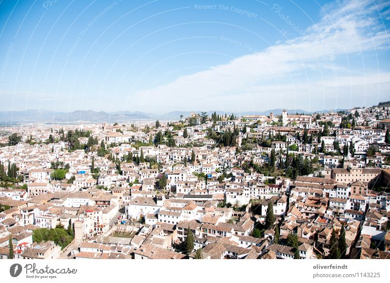 Spain II Sky Clouds Horizon Hill Rock Mountain Granada Village Town Old town Church Roof Esthetic Blue White Freedom Leisure and hobbies Far-off places