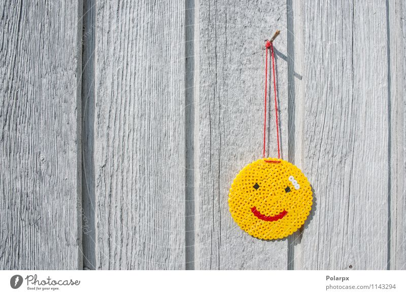 Smiley on a wall Style Joy Happy Face Table Business Mouth Sign Smiling Love Fresh Funny Natural Cute Yellow Red Creativity Tradition pearls handmade thread