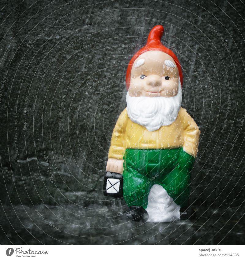raining Dwarf Garden gnome Whimsical Petit bourgeois Village Home country Santa Claus hat Concrete Wet Comfortless Gale Storm Hurricane Lantern Light Joy
