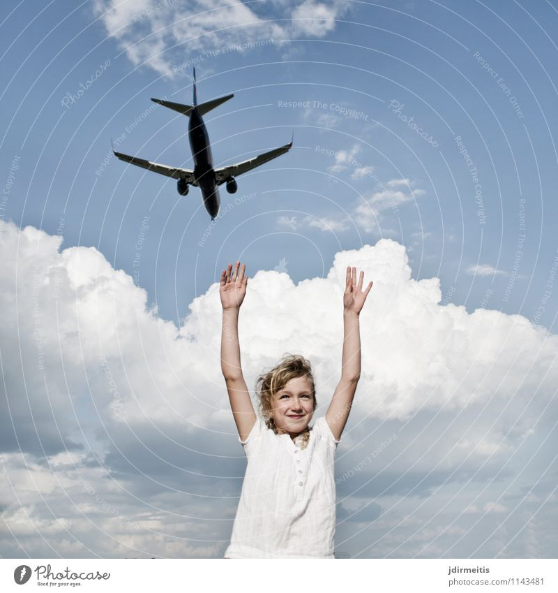 Human being Sky Child Vacation & Travel Clouds Joy Girl Happy Freedom Flying Tourism Aviation Infancy Happiness Smiling Joie de vivre (Vitality)