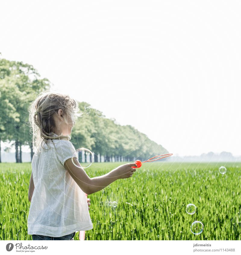 soap bubbles Leisure and hobbies Playing Human being Feminine Child Girl 1 8 - 13 years Infancy Environment Nature Landscape Plant Beautiful weather Tree Grass